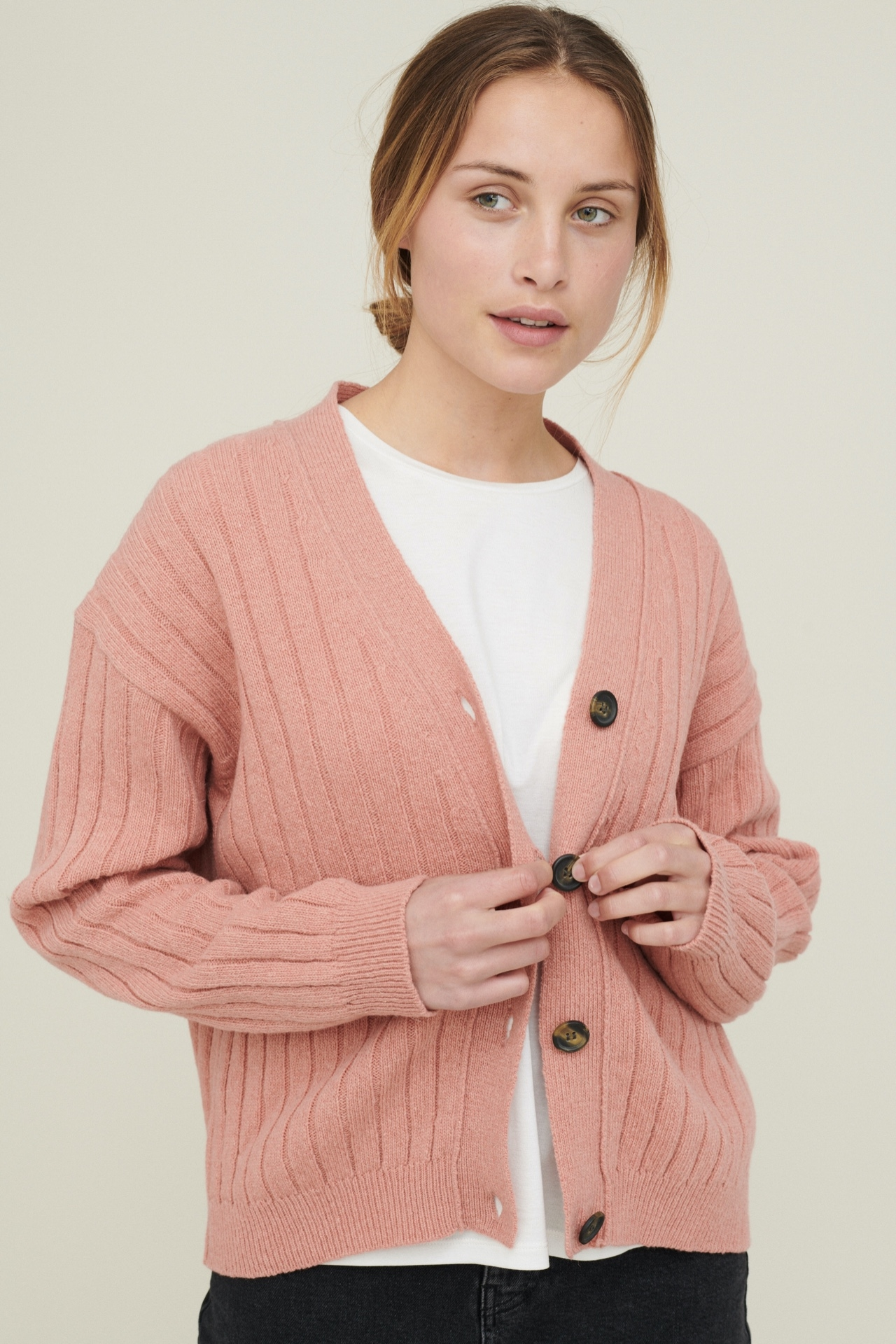 BASIC APPAREL Line Cardigan Muted Clay